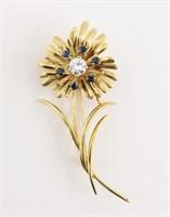 14K Gold Sapphire Floral Brooch.