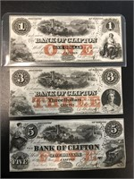 Lot of 3 Bank of Clifton notes - $1, $3 and $5,