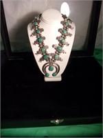 Navajo Silver & Turquise Squash Blossom Necklace