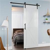 White PVC 30in x 84in Single Barn Door Whole Kit