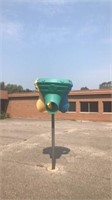 Triple shot ball game, bolted to pole will need