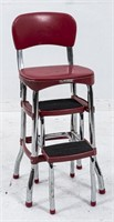 Reproduction Red Vinyl 1950s Kitchen Stool
