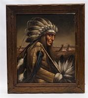 Original Perilloff Indian Chief Oil Painting