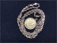 2005 China Panda Gold coin 1/4oz w/ 10K Rope chain