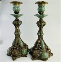 Rare Wong Lee Chinese Celedon Bronze Candlesticks