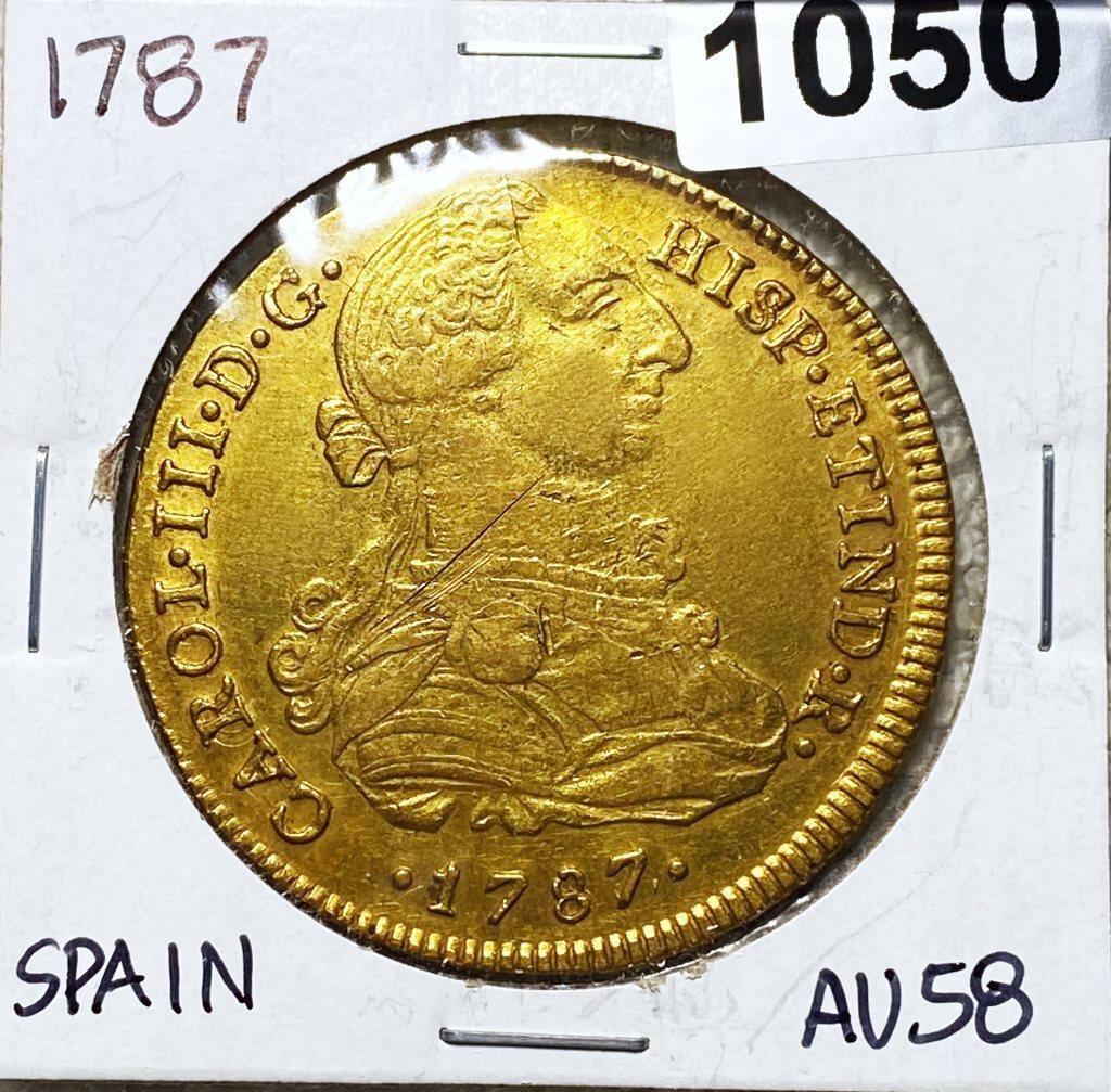 1787 Gold Spanish 8 Escudos CHOICE AU