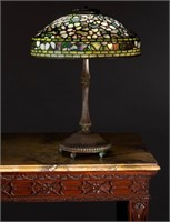 Fine Tiffany Studios Dogwood table lamp, recently discovered