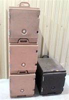 Catering Equip- (3) Stacking Cambro Box's, 1 without handle
