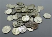 (60) 1963 Roosevelt silver dimes.