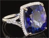 14kt Gold 16.71 ct Sapphire & Diamond Ring