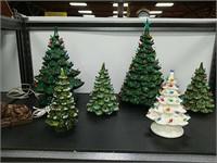 Lot (6) Ceramic Christmas Trees + Lion