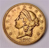 Gold $20 double Eagle - 1875 S