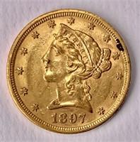 Gold $5 half Eagle 1897 Liberty Head