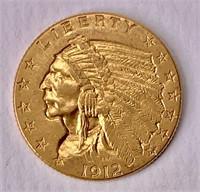 Gold $2 1/2 quarter Eagle 1912 Indian Head