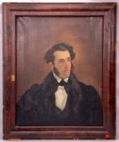 Oil portrait on canvas in period Empire frame