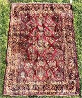 Sarouk Oriental rug, center medallion, worn