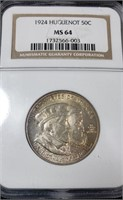1924 Huguenot Half Dollar Commem - PCGS MS64