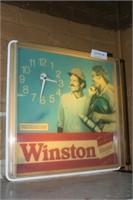 1980'S PLASTIC LIGHTED WINSTON TOBACCO CLOCK