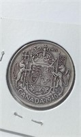 1940 Canada Silver 50 Cent Coin King George VI