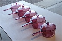 """Corning """" Vision"""" Cranberry Cookware"""
