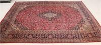 """Vintage Red Floral Tabriz Area Rug, 9'5"""" x 12'8"""""""