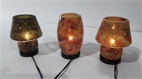 Crackle glass lamps, 9'' tall, all 3 work as can