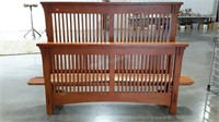 Queen size slat oak head and footboard with