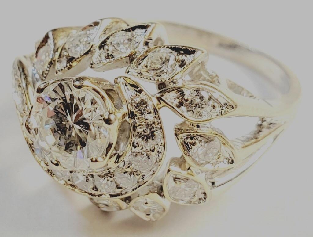 (7) - ART DECO LADIES RING 1.2CT SOLITAIRE DIAMOND